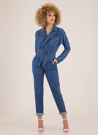 Good Jeans Pleated Denim Jumpsuit