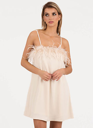Nightie Night Feather Trim Shift Dress