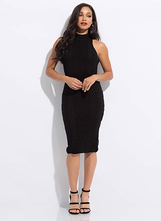 Premium Cable Knit Sweater Dress