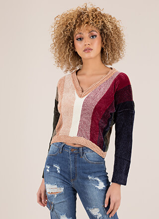 Warm Colors Striped Knit Sweater