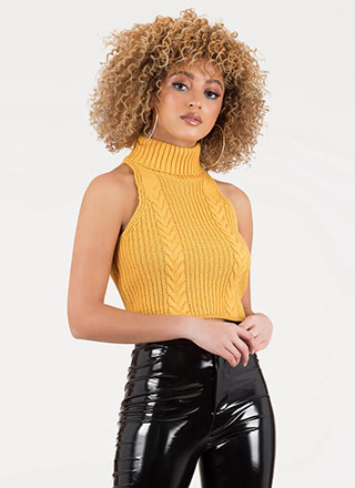 Cute Turtleneck Cable Knit Crop Top