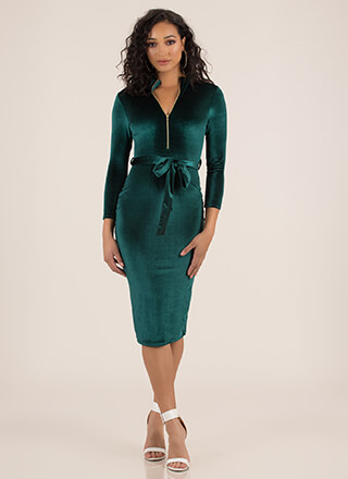 Zip It Good Belted Velvet Midi Dress