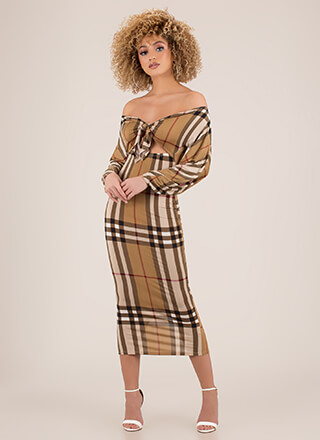 Tie Game Off-Shoulder Plaid Dress