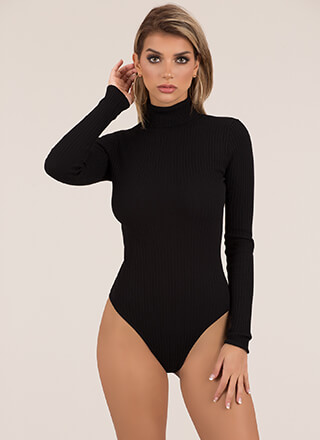 Layered Look Ribbed Turtleneck Bodysuit