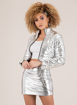 Foiled You Puffy Jacket And Skirt Set