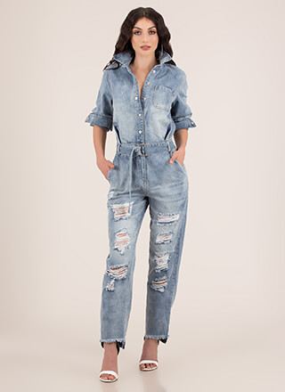 New Boyfriend Destroyed Denim Jumpsuit
