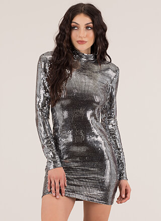 Disco Ball Metallic Tiled Minidress