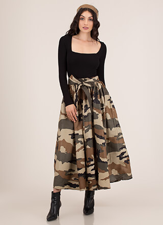 Flare For Camo 2-Piece Maxi Skirt Set