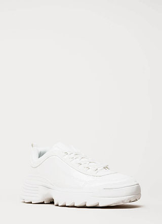 Running Smoothly Faux Patent Sneakers