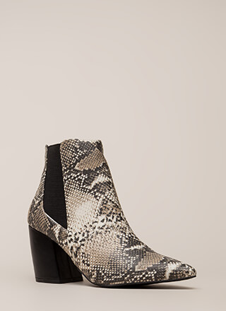 Snake Boss Pointy Block Heel Booties