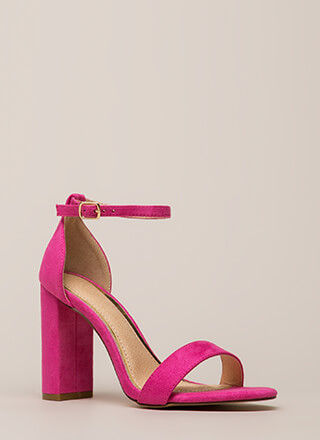 First Choice Chunky Faux Suede Heels