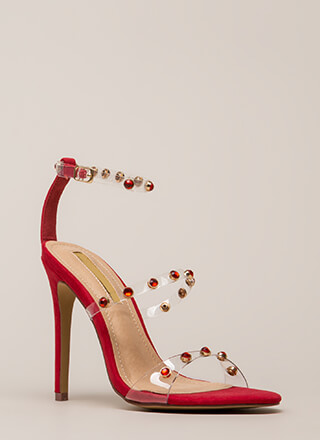 Precious Jewels Clear Strap Heels