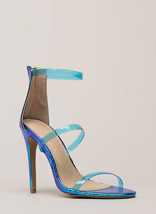575f8c1c7891 Clear As Day Strappy Holographic Heels