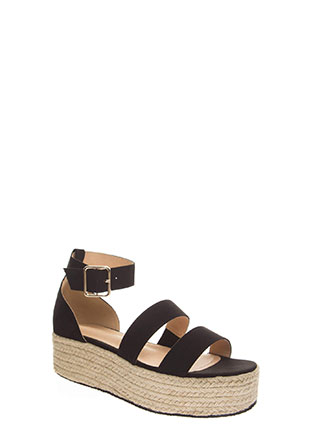 Beach Day Faux Suede Espadrille Sandals