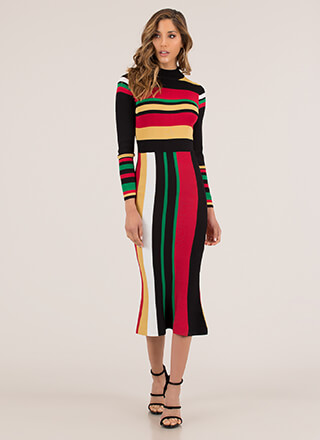 Bold Beauty Striped Knit Midi Dress
