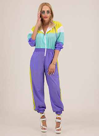 Cool-Girl Windbreaker Jogger Jumpsuit