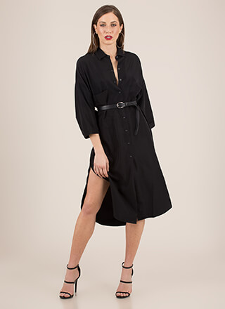 Cool And Casual Snap Button Shirt Dress