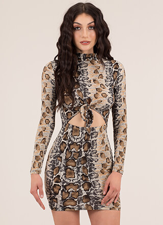 Let Us Prey Cut-Out Snake Print Dress