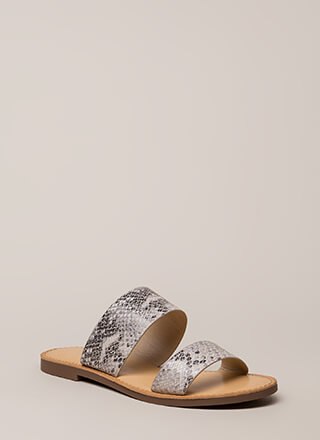 Let's Go Faux Snake Slide Sandals