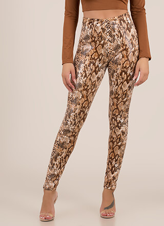 Let's Snake On It Coated Leggings
