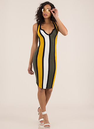 Notch Above Striped Midi Tank Dress