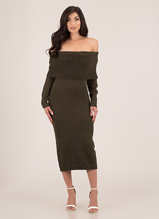 Uncovered Off-Shoulder Sweater Dress