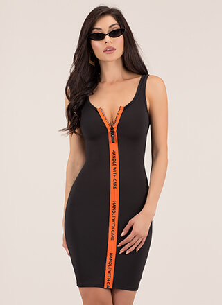 Handle With Care Graphic Zipper Dress