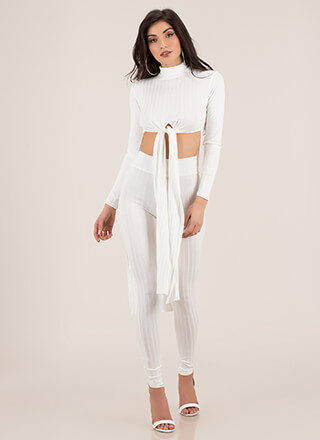 Tie Game Ribbed Top And Legging Set