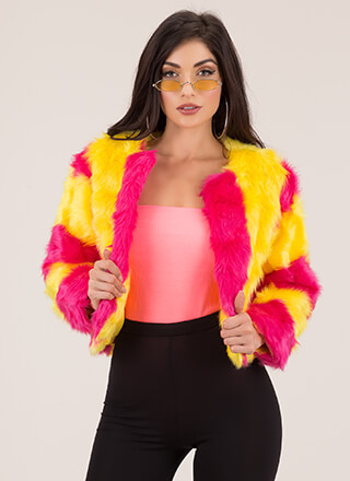 Stripe Tease Cropped Faux Fur Coat