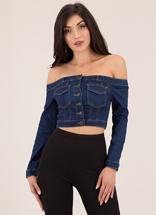 Jean Jacket Off-Shoulder Denim Crop Top