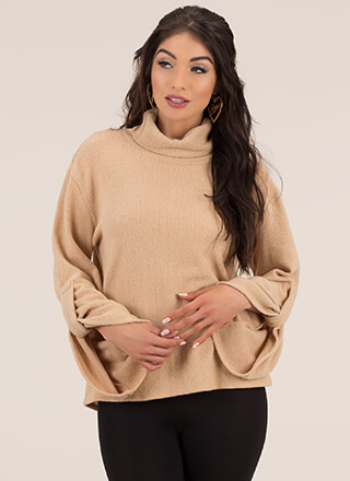 Scrunch Time Knit Bell-Sleeve Sweater