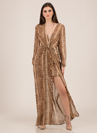 Temptress Snake Print High-Low Maxi