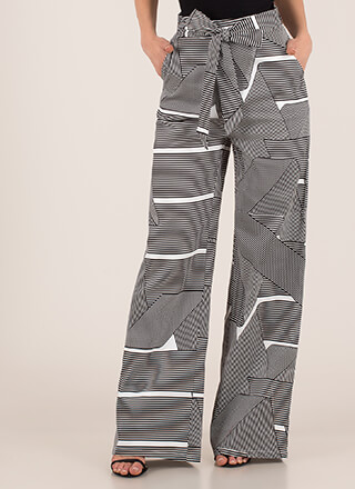 Fine Lines Striped Print Palazzo Pants