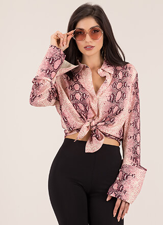 Cold-Blooded Killa Snake Print Blouse
