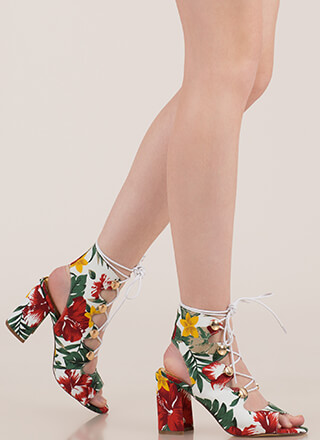 Cute As A Button Chunky Lace-Up Heels