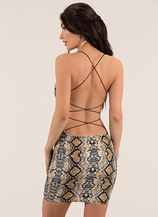 Like A Snake Strappy Open-Back Minidress