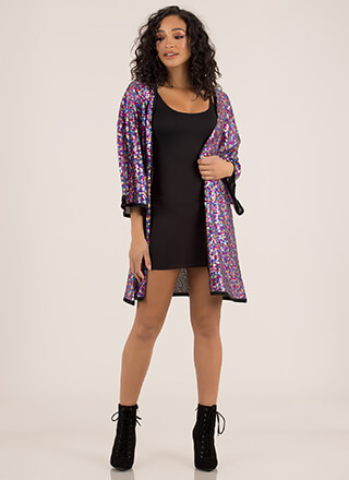 Sparkle Party Sequined Trimmed Kimono