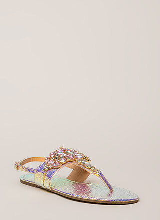 Precious Gems Jeweled T-Strap Sandals