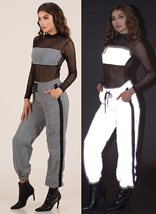 Flash Mob Reflective Striped Joggers