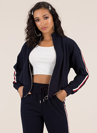 Running Time Striped Track Jacket