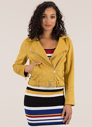 Ride Along Faux Suede Moto Jacket