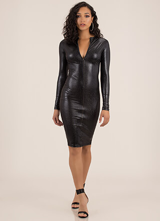 b5ca321bc5cf7 Snake Out Sparkly Zip-Front Midi Dress
