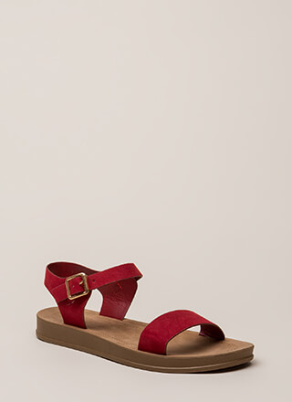 Simple As That Faux Suede Sandals