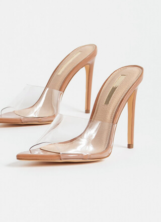Clearly Sexy Pointy Peep-Toe Mule Heels