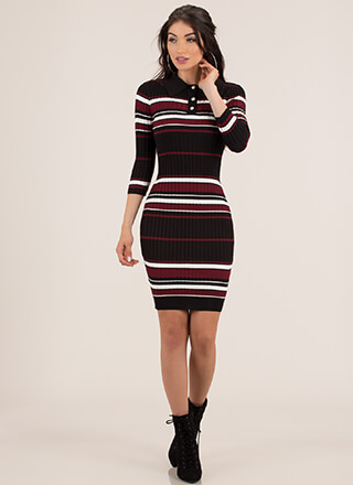Chic In Stripes Collared Rib Knit Dress