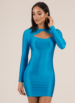 Chest Piece Cut-Out Nylon Minidress