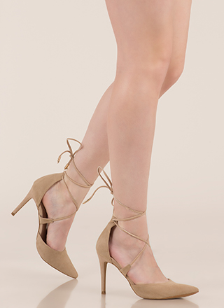 Mon Cherie Pointy Lace-Up Heels
