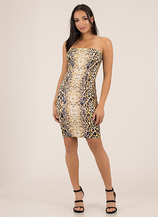 On The Prowl Animal Print Tube Dress