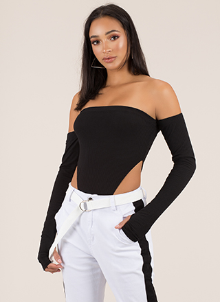 Pop Star Cut-Out Off-Shoulder Bodysuit