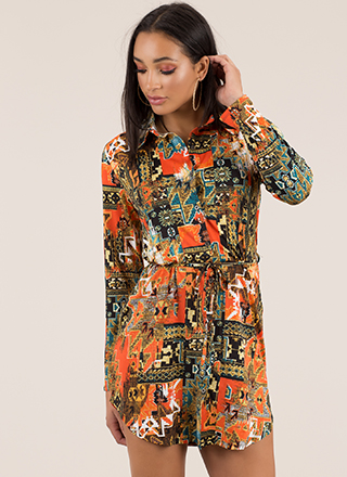 Masterpiece Mosaic Print Shirt Dress